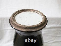 Antique Chinois 18 Grand Vase En Porcelaine Monochrome Noire. Lire La Description