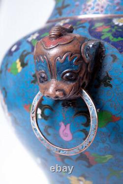 Antique Chinois 19ème Original Extra Grand Vase Cloisonne 68 CM