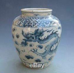 Antique Chinois Bleu Vase En Porcelaine Blanche Et Jar Vieux Rare Grand Vases Main Occasion