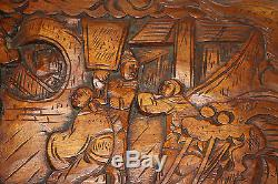 Antique Chinois Bois Sculpté Grand Coffre De Rangement Du Coffre Dragons Hommes Détaillées