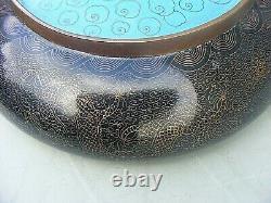 Antique Chinois Cloisonné Bowl Dragon Signé 4 Caractères Mark Grand