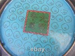 Antique Chinois Cloisonne Bowl Dragon Signé 4 Caractères Mark Large