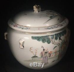 Antique Chinois Famille Rose Lidded Pot Grand Kamcheng Début Du 20e Siècle