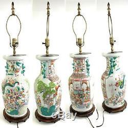 Antique Chinois Famille Verte Fam Rose Vase En Porcelaine Grande Lampe Figural