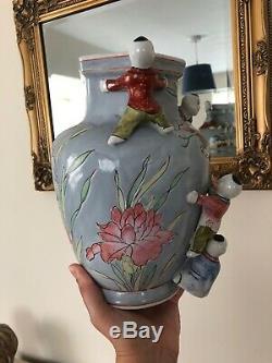 Antique Chinois Fertilité Vase En Porcelaine Escalade Enfants Chine Art Grand Lourd