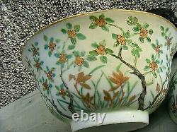Antique Chinois Grand Bol Lidded Signé