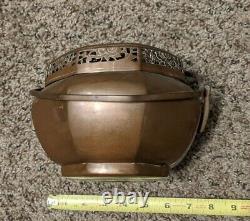 Antique Chinois Grand Chauffe-main En Cuivre Dual Handles Brass Simple Design