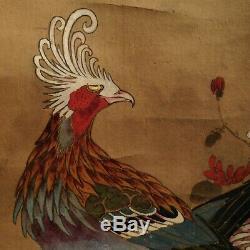 Antique Chinois Grand Paon Oiseaux D'encre Peinture Hanging Scroll Signé Entiers