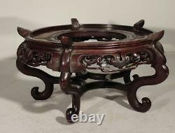 Antique Chinois Huanghuali Rosewod Type Stand Base Massive Grand Comme Est