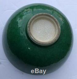 Antique Chinois Imperial Période Grande Baie Vitrée Crackle Vert Émeraude Jade Émail