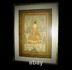 Antique Chinois Ming Grande Figure De Bouddha De Tapisserie De Broderie De Soie De Vajradhara
