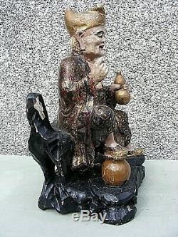 Antique Chinois Polychrome Temple Sculpté En Bois Figure Grand
