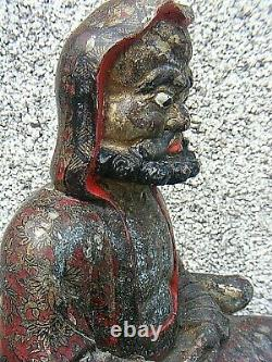 Antique Chinois Polychrome Wooden Carved Temple Figure Grande
