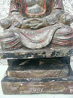 Antique Chinois Polychrome Wooden Sculpté Temple Figure Grande