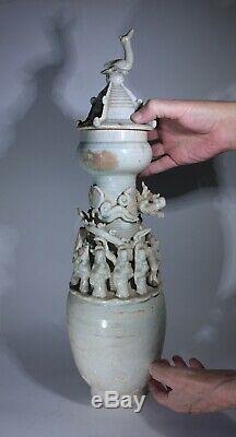 Antique Chinois Qingbai Glacé Grand Vase Funéraire Dynastie Song