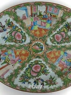Antique Chinois Rose Médaillon Grand Plateau Ovale Circa 1920 15