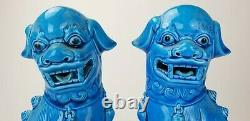 Antique Chinois Turquoise Bleu Glacé Large 12.25 Foo Lion Dog Figures Bouddhistes