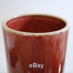 Antique Chinois Vase En Porcelaine Rouge Oxblood Glaze, Grand, Sang De Boeuf