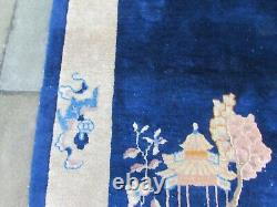 Antique Fait À La Main Art Déco Chinese Oriental Laine Bleue Grande Rug 206x123cm