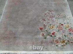 Antique Fait Main Art Déco Chinese Oriental Laine Gris Grande Rug 250x167cm