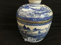 Antique Grand Pot En Pot En Porcelaine Bleu Blanc Chinois Signé, 19ème Huê