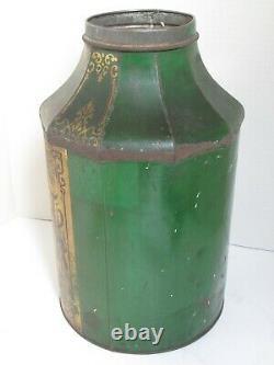 Antique Grand Tole Chinese Tea Canister Vert, Or Et Noir C. 1880's