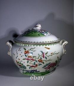 Antique Grande Exportation Européenne Chinoise Tureen & Couverture