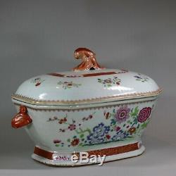 Antique Grande Famille Octogonale Rose Chinoise Soupière Et La Couverture, Qianlong 1736-1795