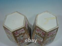 Antique Grande Paire Chinois Mandarin Palette Vases Hexagonaux, 18ème Siècle