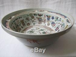 Antique Grande Qing Dynastie Chinoise Famille Bassin Porcelaine Rose Bowl 15.5394mm
