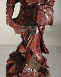 Antique Grande Sculpté Boxwood Chinois Bois Immortal Figure Scholar
