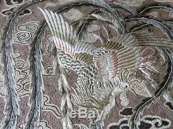 Antique Grande Soie Chinoise Phoenix Oiseau Broderie