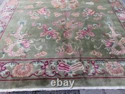 Antique Hand Made Art Déco Chinese Carpet Green Wool Grand Tapis 407x320cm