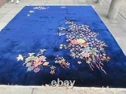 Antique Hand Made Art Déco Chinese Carpet Navy Blue Wool Large Carpet 330x270cm
