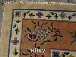 Antique Hand Made Art Déco Chinese Oriental Beige Wool Large Carpet 470x370cm
