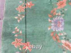 Antique Hand Made Art Déco Chinese Oriental Green Wool Large Carpet 317x274cm