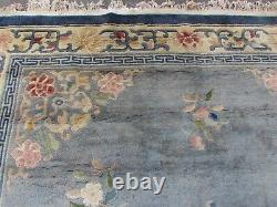 Antique Hand Made Art Déco Chinese Oriental Laine Bleu Grande Tapis 350x270cm