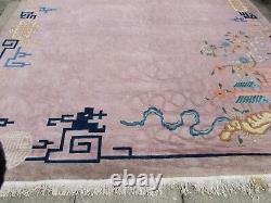 Antique Hand Made Art Déco Chinese Oriental Pink Wool Grand Tapis 383x307cm