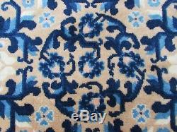 Antique Hand Made Art Déco Oriental Chinois Beige Bleu Laine Grand Tapis 245x167cm