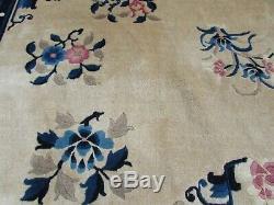 Antique Hand Made Art Déco Oriental Chinois Beige Bleu Laine Grand Tapis 275x185cm