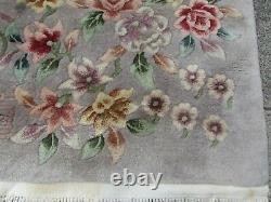 Antique Hand Made Art Déco Oriental Chinois Gris Laine Grand Tapis 250x167cm