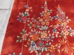 Antique Hand Made Art Déco Oriental Chinois Laine Rouge Grand 414x329cm Tapis