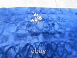 Antique Hand Made Art Deco Tapis Chinois Laine Bleu Marine Grand Tapis 330x270cm