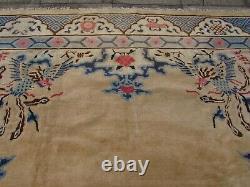 Antique Hand Made Artdeco Chinese Oriental Beige Wool Large Carpet 355x280cm