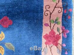 Antique Hand Made Artdeco Oriental Chinois Bleu Marine Laine Grande 292x242cm Tapis