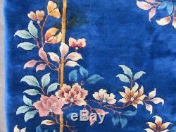 Antique Hand Made Artdeco Oriental Chinois Bleu Marine Laine Grande 355x312cm Tapis