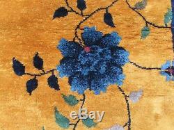 Antique Hand Made Artdeco Oriental Chinois Or Laine Bleu Grand 450x306cm Tapis