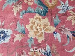 Antique Hand Made Artdeco Oriental Chinois Rose Laine Grande 270x230cm Tapis