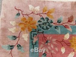 Antique Hand Made Artdeco Oriental Chinois Rose Laine Grande 354x267cm Tapis