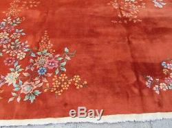 Antique Hand Made Laine Artdeco Oriental Chinois Rouge Grande 310x270cm Tapis